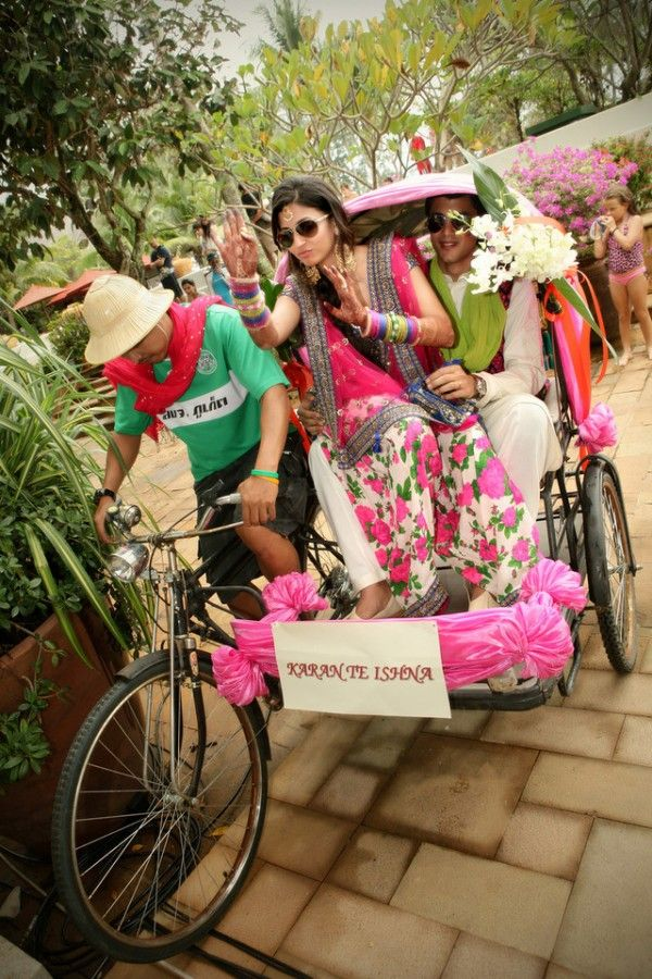 Rickshaw-Entrance...love both..the perkiness n the lehnga of the bride..!!