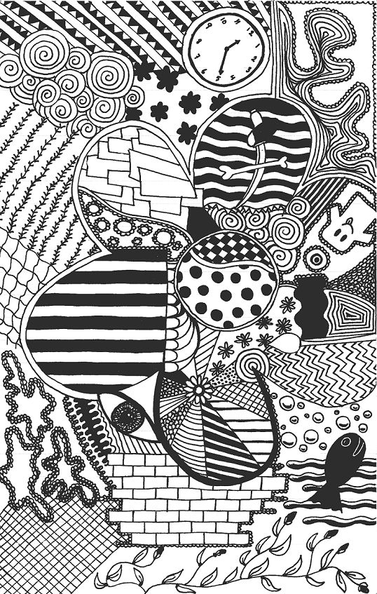 doodle patterns | Clover Pattern Doodle with Ghosts and Fish | Doodler Blog