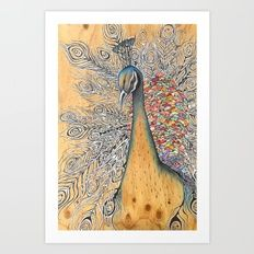 "Peacock Memory Giclée art print by Kerise Delcoure. The artwork for ""Peacock Memory"" was carefully painted and collaged using acrylic paint, coloured pencils and delicate hand-made Japanese papers on wood. Available at https://society6.com/kerisedelcoure."