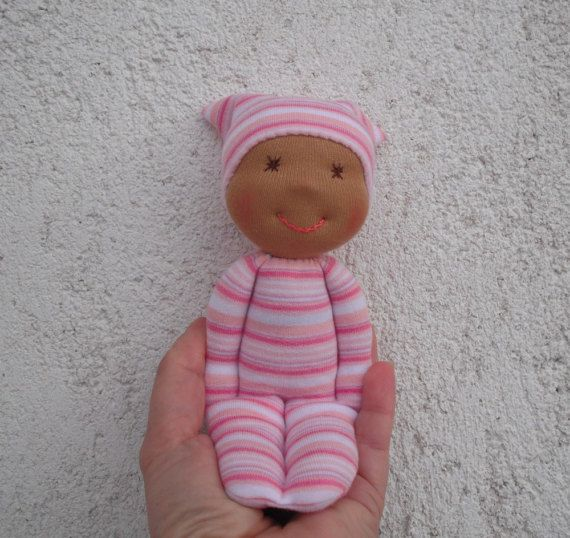 Black baby doll, African american rag doll, Waldorf pocket doll for baby girl, Toddler cloth doll in pink, Natural soft toys, Black dolls