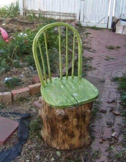 Sit back and enjoy the fruits of your labours with this rather fab garden seat made from an old log and a broken chair. We'd drill holes in a ring along the bottom of the log to make it somewhere for people and bugs to rest #homesfornature