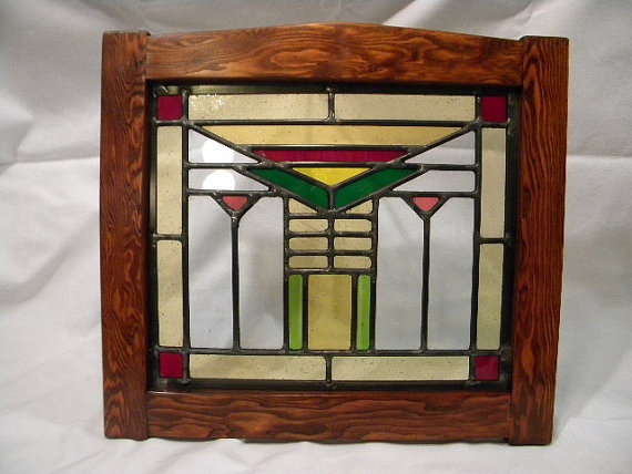 Craftsman Stained Glass Window by charlesartglass on Etsy, $140.00