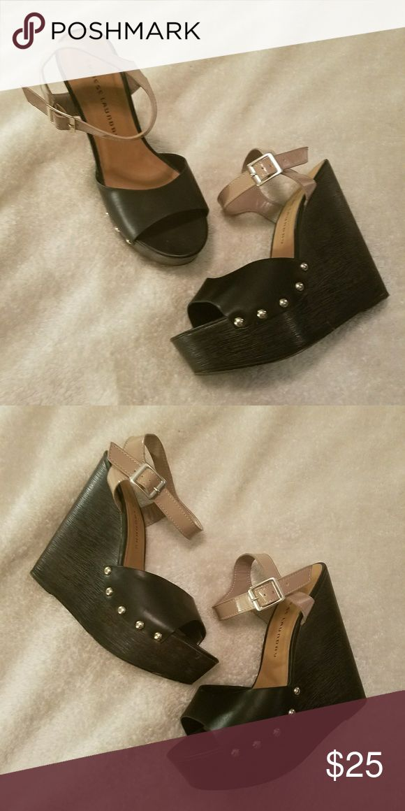 shoes HIP black/ tan wedges Shoes Wedges