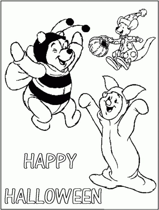 Free Pooh & Friends Halloween Coloring Pages for Kids - Picture 09