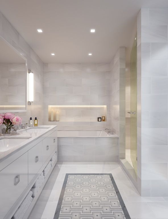 Contemporary Master Bathroom With Complex Marble Tile Floors, Double Sink,  European Cabinets, Wall