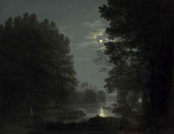 Liebespaar bei Vollmondnacht am Flussufer mit Ruinen, 1816, Jakob Alt