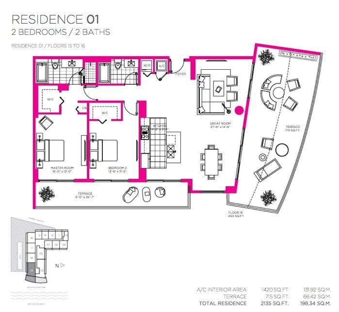 Балтус Дом В Майами Роскошные Апартаменты 15-16 Этажи Поэтажные Планы