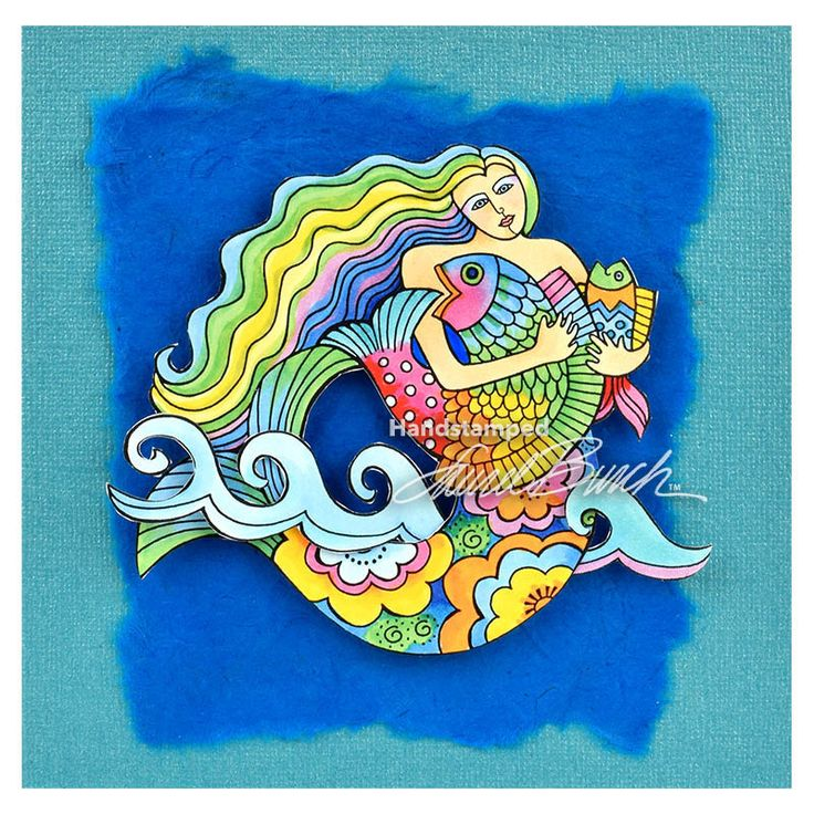 Laurel Burch Cling Mermaid Fish Stamp Set