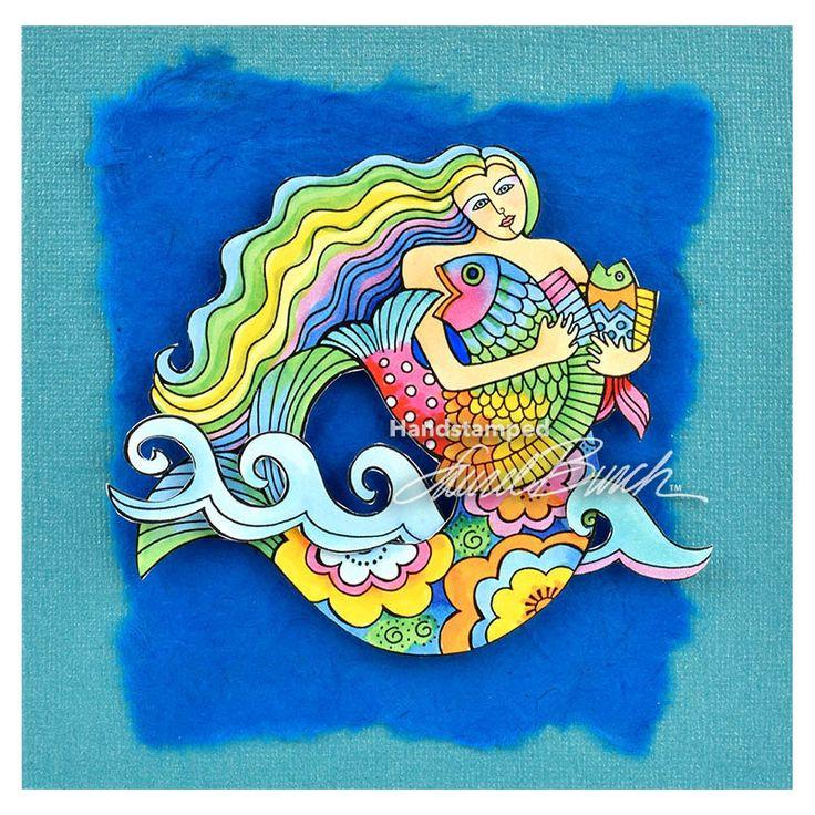 Laurel Burch Cling Mermaid Fish Stamp Set