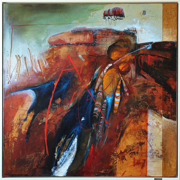 CESTA ELFOV DO NEBA, 100x100 cm, mixed media / TRIP OF ELF TO HEAVEN