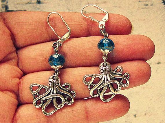 Pulpo joyas, joyería de pulpo, pulpo pendientes, pendientes de náuticas, joyería náutica, regalos únicos para los amantes del cefalópodo