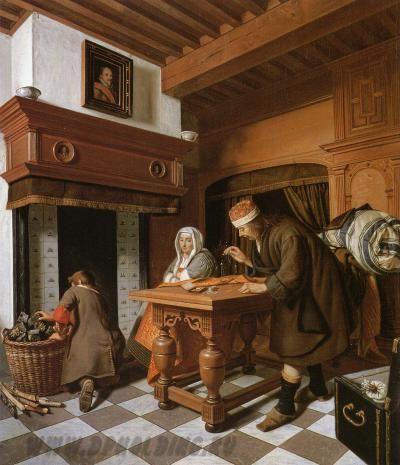 Корнелис де Ман «Меняла» («A Man Weighing Gold»,  Cornelis de Man, 1621-1706) около 1670-1675, масло, холст, 82 x 68 см, частная коллекция.  Голландский купец изображен в своем уютном доме. Пол выложен плиткой, стены и каминная полка отделаны деревом, камин облицован керамической плиткой. Ножки стола имеют форму, характерную для голландского барокко. Кровать помещается в нише и отгорожена драпировкой.