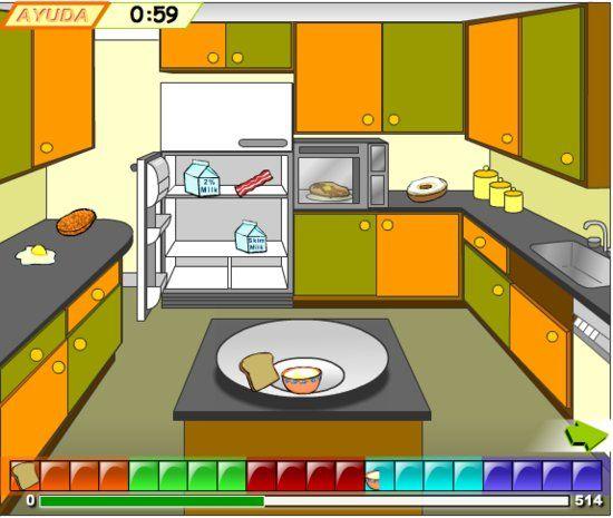 El juego de construir una comida balanceada.  Viaja a la cocina, la cafetería de la escuela y un supermercado mientras lucha contra el reloj para construir la comida perfecta - en español.