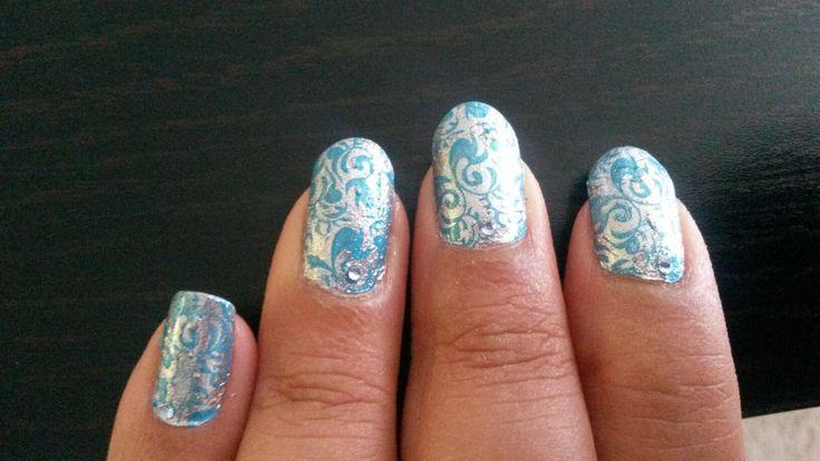 Stardust nails #silver #blue #nail art #pretty nails #stamping #my nail art