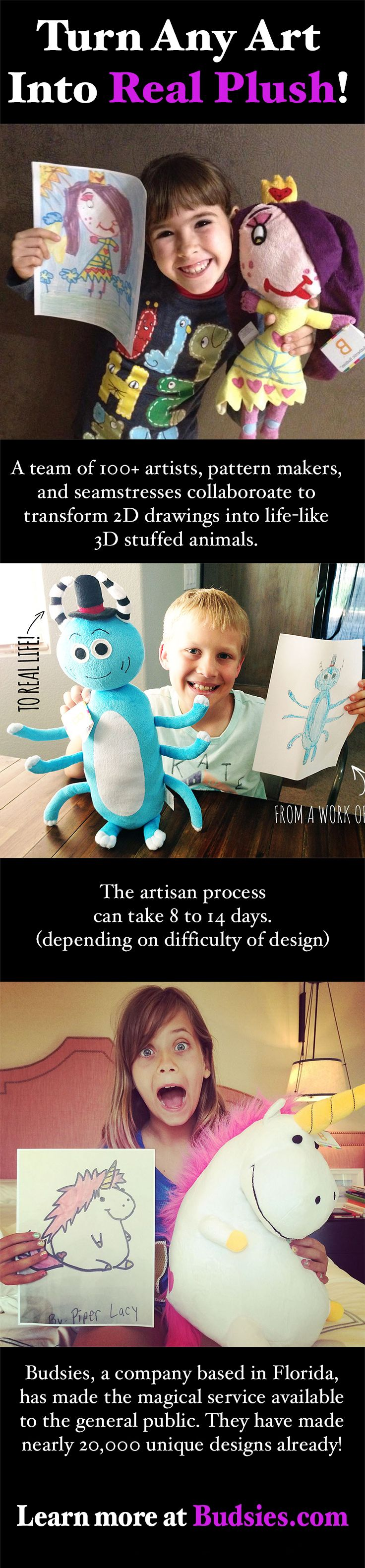 Turn art & drawings into stuffed animals for only $89! Perfect gift for the holidays, birthdays, or just because. This cool gift has even been featured on Shark Tank! Visit Budsies.com to learn more #giftideas