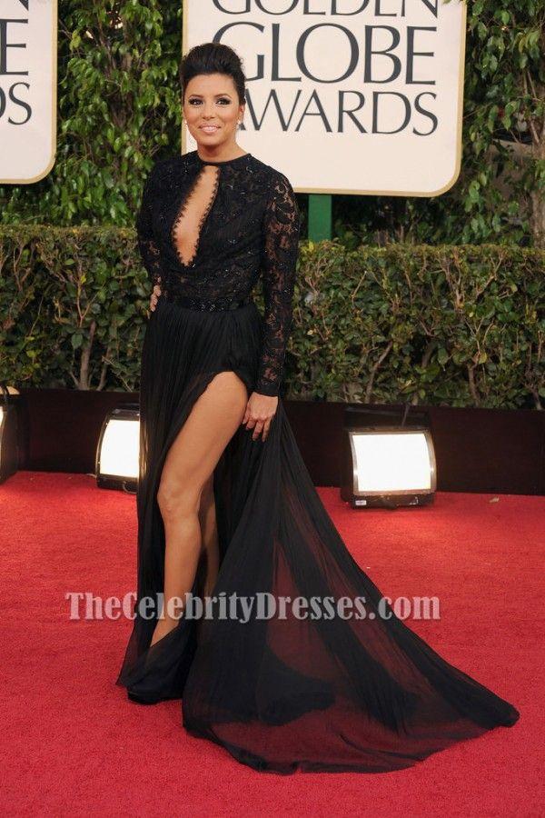 Eva Longoria Black Prom Dress 2013 Golden Globe Awards Red Carpet - TheCelebrityDresses