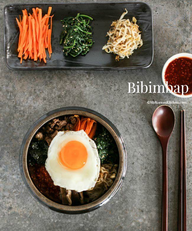 Bibimbap – Korean Mixed Rice with Meat and Assorted Vegetables via @mykoreankitchen