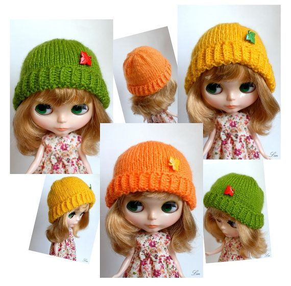 Blythe doll knitted autumn leaves / winter - green / yellow / orange hat