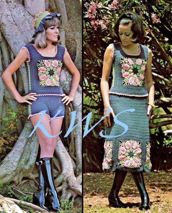 Vintage anni 70 all'uncinetto 2-Piece Hippie Abito