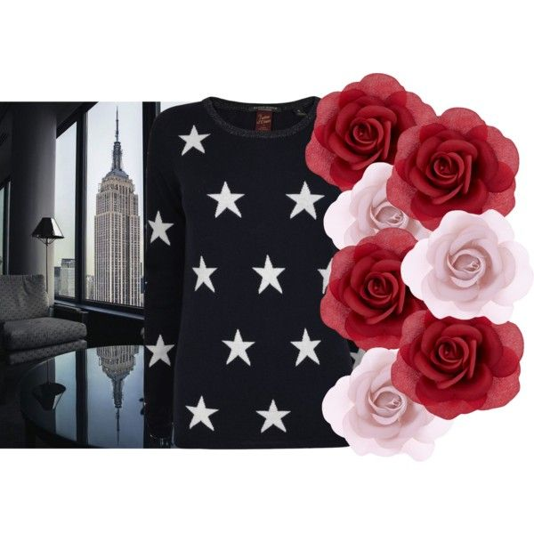 NYC flowers by lenahcaruana on Polyvore featuring art, Flowers, stars and concrete: