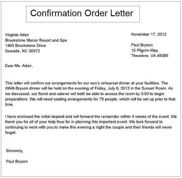 purchase order confirmation letter format