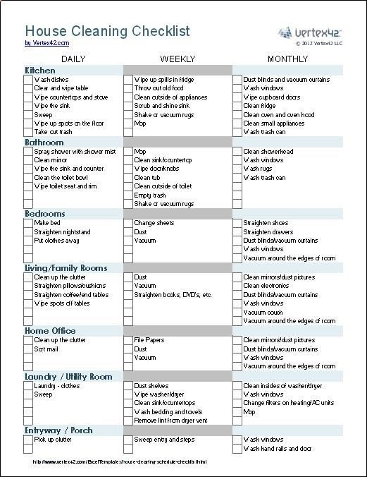 House Cleaning Checklists