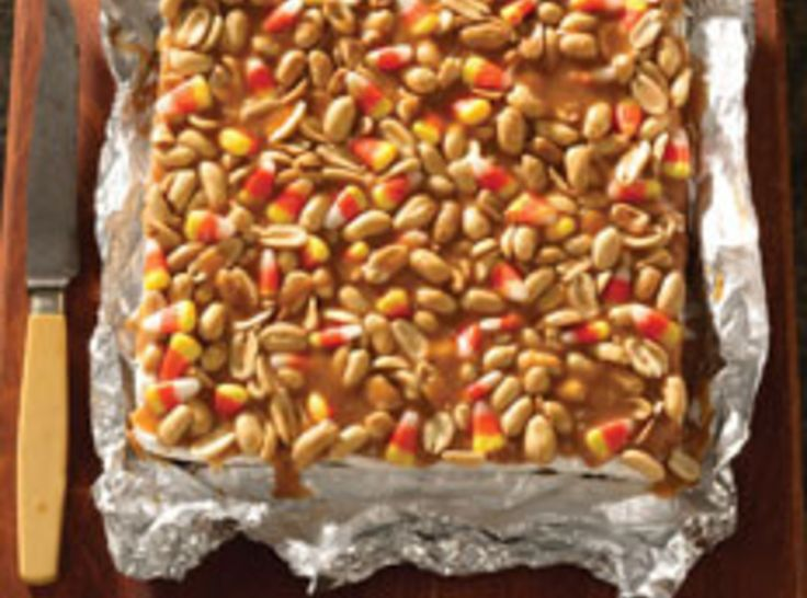 """Trick or Treat Salted Nut Bars  """"like a PayDay candy bar with candy corn""""."""