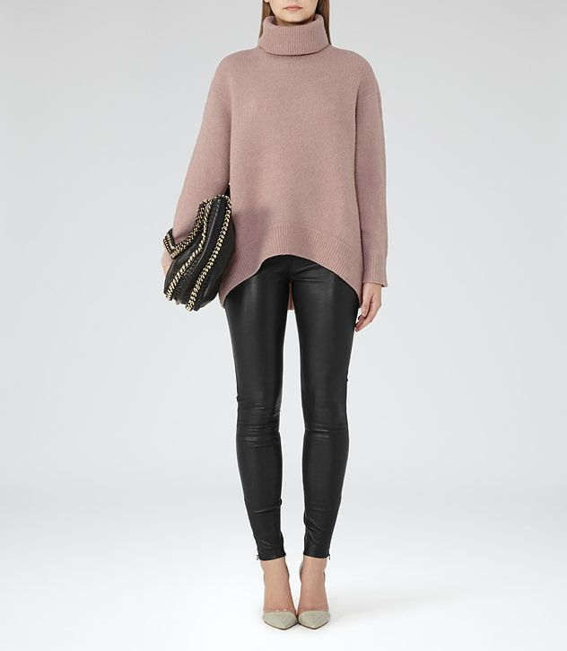 Philberta Chestnut Roll Neck Jumper - REISS