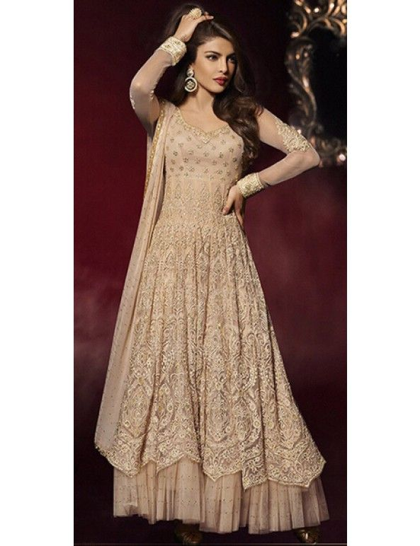 Priyanka Chopra In Beige Georgette Long Lehenga Suit