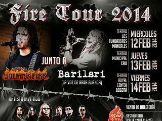FIRE TOUR en el Teatro Royal Center el viernes 14 de febrero. Exponentes del heavy rock sur americano. Julian´s Fire, Adrián Barilari (voz de Rata Blanca) y Kraken compartirán escenario y cautivarán a los asistentes con sus más grandes éxitos.