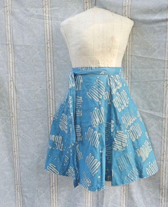 Reversible Wrap Skirt Batik Blue and Orange Cotton by GraceAtieno, $60.00