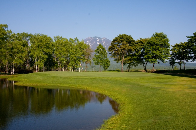Beautiful par 3 at Niseko Village Golf Course with Mount Yotei in the background.