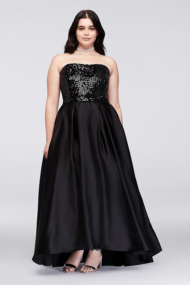 Black Sequined Satin Strapless Plus Size Prom Dress From Davids