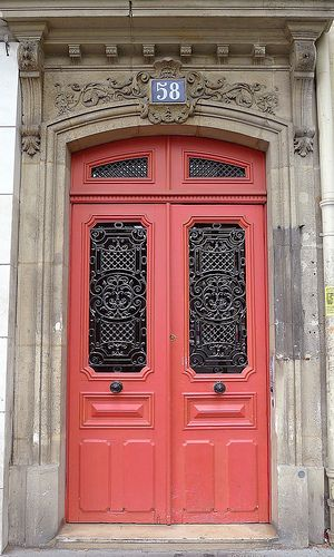 Coral Door in Paris. So gorgeous!
