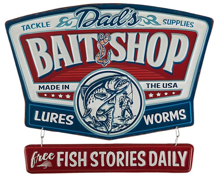 Open Road Brands Dad's Bait Shop Linked Embossed Tin Sign ...