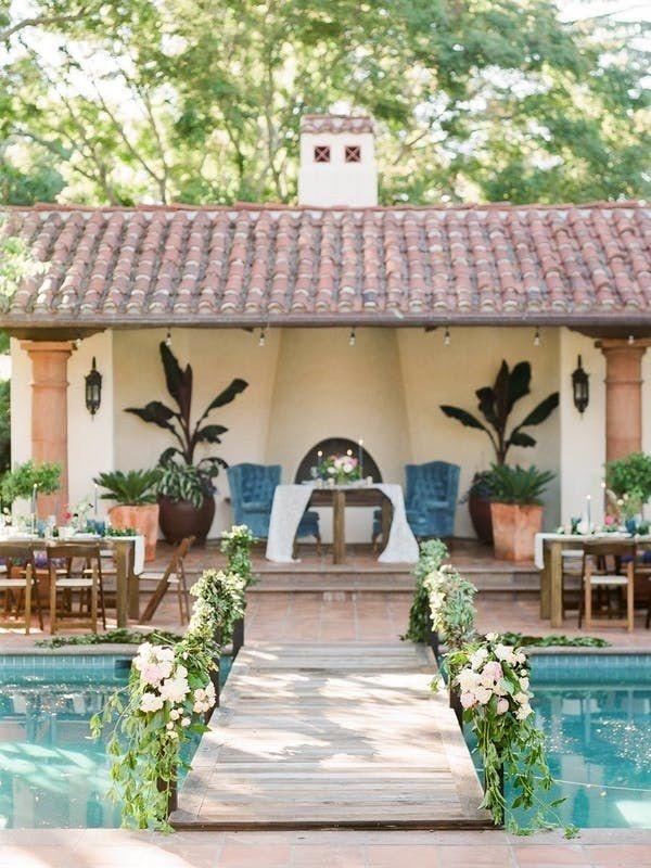25 Backyard Wedding Ideas Brides Backyard Wedding Pool Backyard Wedding Pool Wedding Decorations