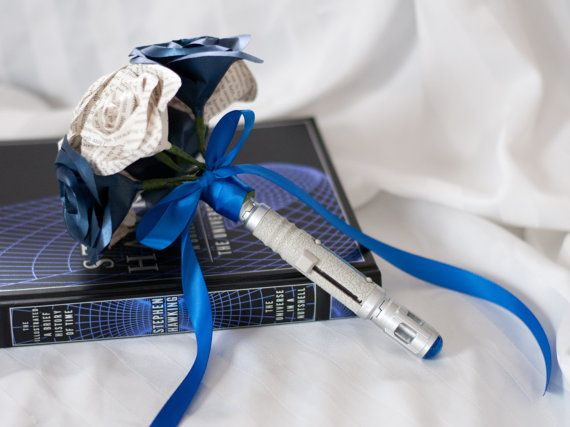 #DoctorWho Sonic Screwdriver Handled Paper/Book Page Bouquet by DiddleBug, $86.00