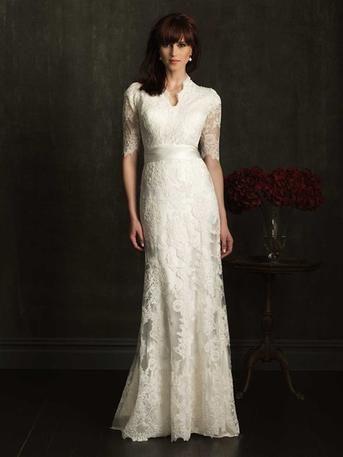 Half sleeved lace wedding dress.