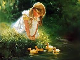 girl  watching ducklings.