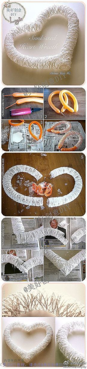 Heart - Art 1. long balloon +string+glue. 2. Dry 3. pop balloon by jacquelyn