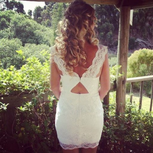White Lace Dress made by my mom. Bridesmaid dress. White bridesmaid dress for my sisters wedding