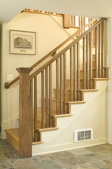 Simple railing again.  -- Break Up the Descent with a U Shape. U-shape stairs lined with a Craftsman-style wooden balustrade lead to this basement. This stair design requires more floor space than a straight run of stairs, but it's a good choice when a straight run would be too steep.