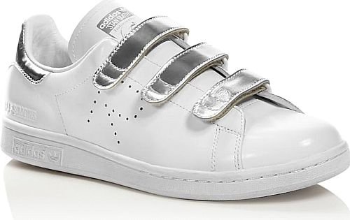 Raf Simons For Adidas Women's Shoes in Silver Color. Highly coveted by the street stye set, Raf Simons for adidas' retro tennis shoes gets a sleek dose of futurism with silvery metallic Velcro straps.