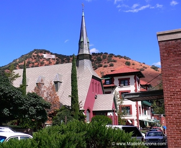 "Looking at Presbyterian Church, Copper Queen Hotel, and Bisbee ""B."" On the right side of the photo (the brick wall), is the old Copper Queen Hospital."