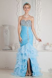 Pretty High-low Ruffled Beaded Aqua Blue Evening Dress online