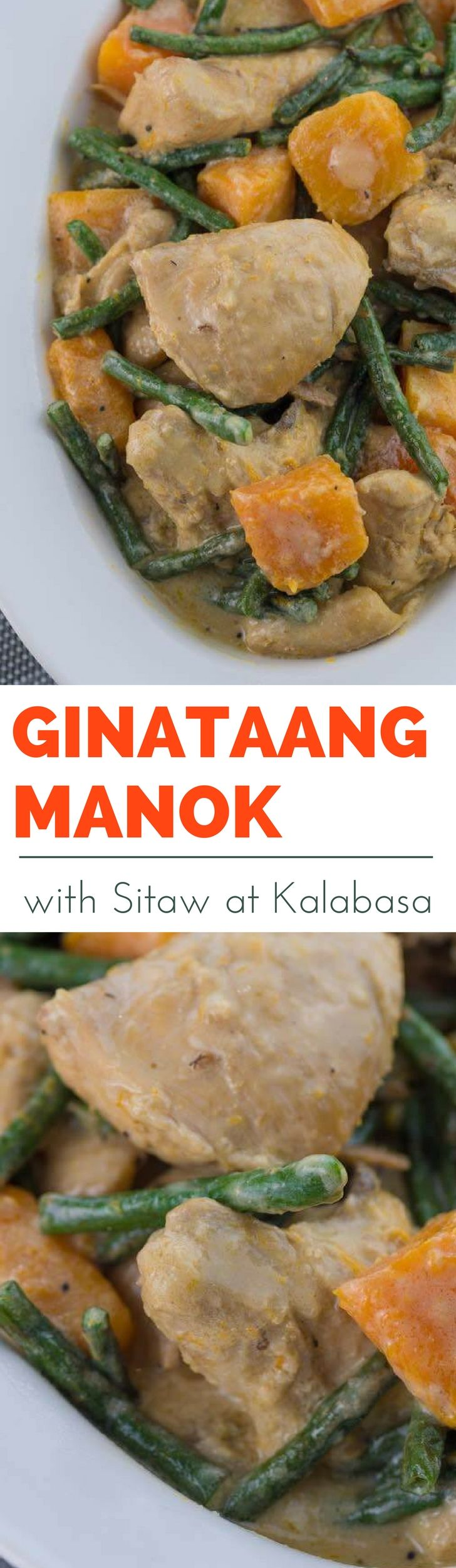 Ginataang Manok with Sitaw at Kalabasa or Chicken coooked in coconut milk with snake beans and butternut squash is an easy-to-cook Filipino chicken recipe can be a good idea for dinner. This is best served with rice. #panlasangpinoy #dinnerideas #chickenrecipes #filipinorecipes #ginataan #pinoy #filipinofood #filipino #nomom