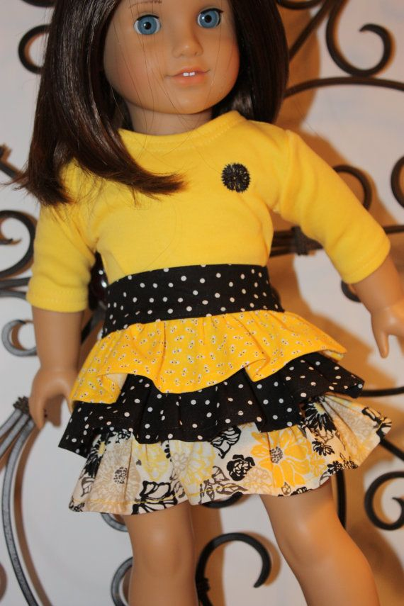 American girl doll clothes, 18 inch doll clothes, ruffled skirt with matching embroidered t-shirt