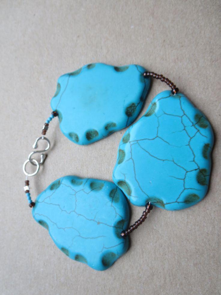 Gemstone Statement Bracelet, Turquoise Stone Beaded Bracelet, Handmade beadwork Bracelet, Designer Turquoise Bracelet, Edinburgh by KBrownJewellery on Etsy