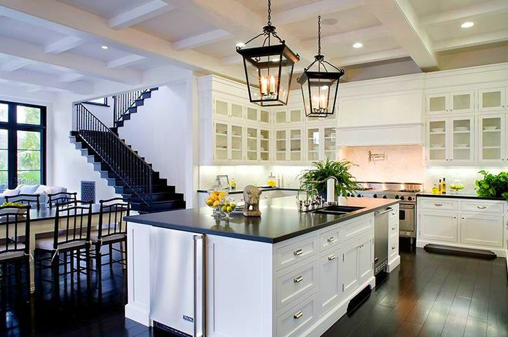white cabinets, check. black countertops, check. dark wood floors, maybe?: Dreams Kitchens, Stairs, Lights Fixtures, Kitchens Ideas, Kitchens Islands, Open Kitchens, White Cabinets, Black, White Kitchens