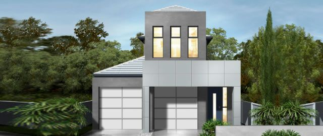 The Modena Facade Option 01 - from the Weeks Peacock Homes Urban Style Range. A narrow block need not restrict style or living features. Living space is maximised with a large alfresco that wraps the rear of the home.